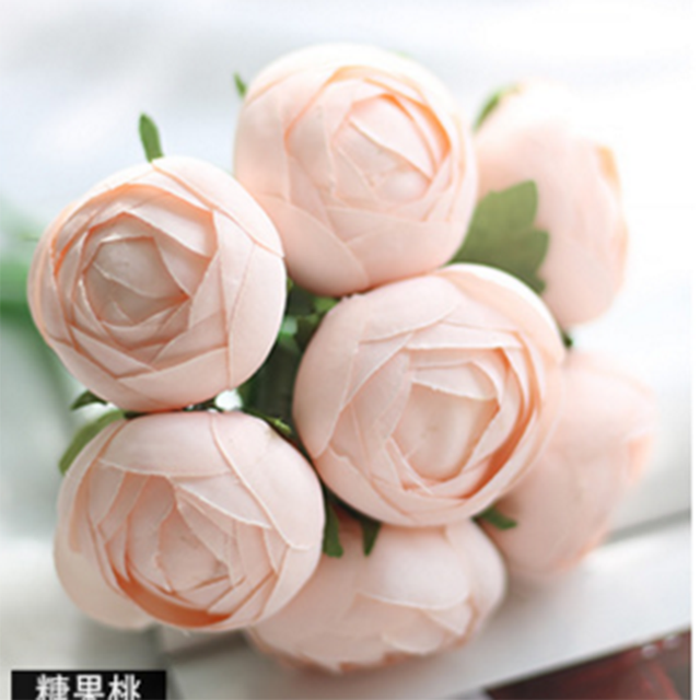 1 Bouch Of Candy Color Round Lotus Flower Silk Cloth Decorative Hand