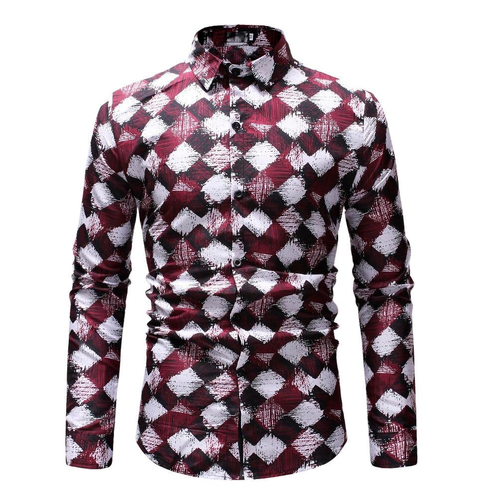Casual Plaid Men Shirt Spring Autumn Long Sleeve Shirt Hawaiian Floral Shirt Soft Comfort Slim Fit Mens Clothing Plus Size M-3XL 1