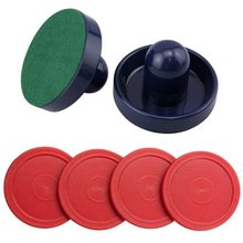 Free Shipping Set of Two Blue Air Hockey Pushers and Four Red Pucks