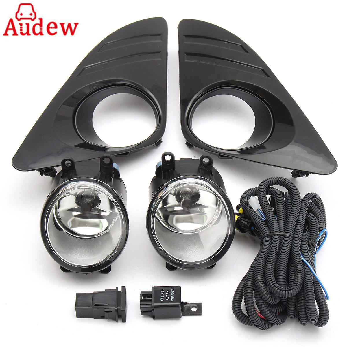2Pcs Front Car Fog Light Lamp DRL 55W Round Daytime Driving Lights + Switch H11 Bulbs For Toyota Camry 2012 2013 2014 car styling fog lights for toyota camry 2012 2014 pair of 12v 55w front fog lights bumper lamps daytime running lights