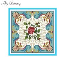 Joy Sunday Rose Heart Pattern Counted Cross Stitch Kit  11CT 14CT Printed on Canvas DMC Embroidery DIY Handwork Needlework sets