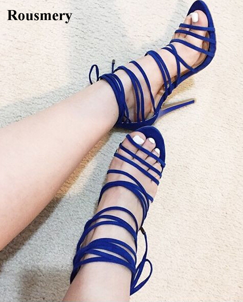 Women New Design Cut-out High Heel Ankle Strap Sandals Open Toe Lace-up Strap Cross Gladiator Sandals Formal Dress Shoes long criss cross open back formal party dress