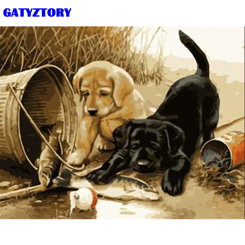 GATYZTORY Frame Dogs Fish DIY Painting By Number Modern Canvas Painting Acrylic Paint By Numbers For Wall Art Picture 40x50cm image