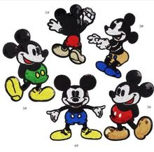 DD  5pcs/set Sequins Mouse Iron on Patches for Clothes Jeans Big Motif Embroidery Applique Rat Mickey Sequined Patch Sewing DIY