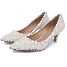 Handmade Ivory Wedding Party Shoes Comfortable Prom Party Dancing Shoes Kitten Heel Shoes Wedding Pearl Wedding Shoes