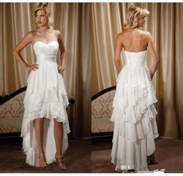 Short Front Long Back Country Western Dresses Sweetheart Chiffon High Low Bridal Gowns Cheap Beach Wedding Reception