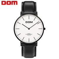 DOM שעון קוורץ היוקרה מותג עליון גברים שעון עור שעון קוורץ מזדמן-שעון דק במיוחד זכר רצועת רשת Relog M-36BL-7M