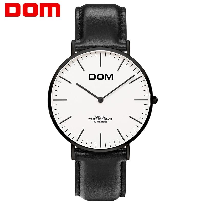 Montre hommes DOM Top Marque De Luxe montre À Quartz Casual quartz-montre en cuir Maille sangle ultra mince horloge mâle Relog M-36BL-7M
