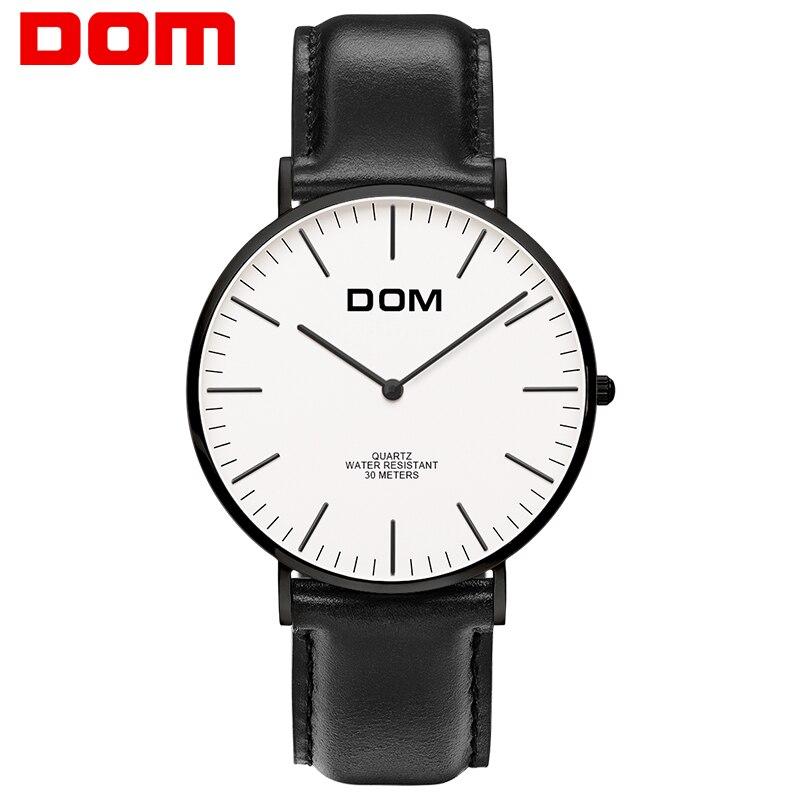 цена на Watch men DOM Top Brand Luxury Quartz watch Casual quartz-watch leather Mesh strap ultra thin clock male Relog M-36BL-7M