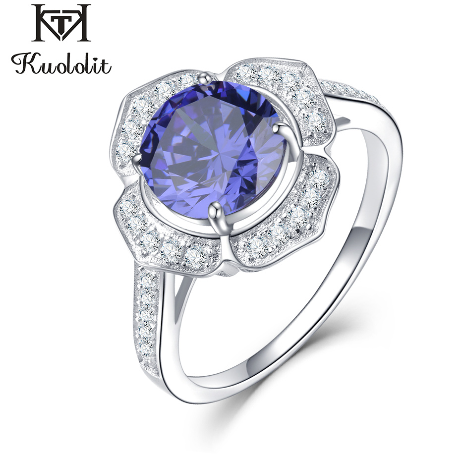 Kuololit Classic Tanzanite Ring Solid 925 Sterling Silver Rings For Women Brand Fine Jewelry Engagement Women GiftRings   -