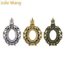 Julie Wang 1PCS Antique Color Unicorn Cabochon Cameo Base Setting Charms Blank Tray Charm Alloy Pendant Necklace Jewelry Making mibrow 10pcs lot stainless steel 8 10 12 14 16 18 20mm blank french lever earring tray cabochon setting cameo base jewelry