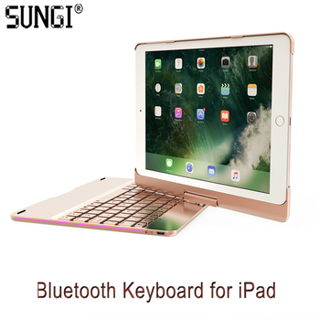 Aluminum Bluetooth Keyboard with Rotating Cover Case Colorful Breathing Light for iPad Air/iPad Air2/iPad Pro9.7/217 new iPad