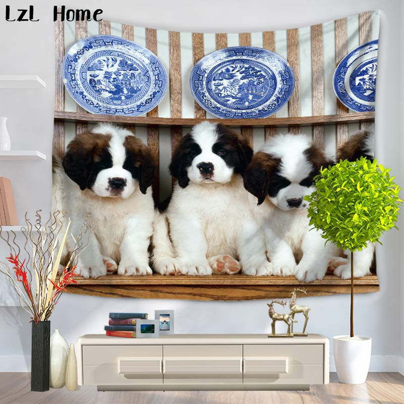 LzL Home 3d Pleasing Cute Dog Mandala Animales Tapestry Arazzo Indian Hippie Wall Hanging Boho Yoga Mat Bedspread Table Cloth