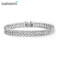 Best Christmas Gift High Quality Double Row Small Round Cubic Zirconia Bracelet For Women New Design