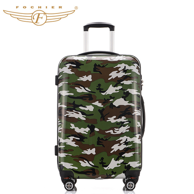1 Piece ABS PC Hardside Travel Trolley Case Camouflage Printing 20 24 28 Durable Upright Rolling Luggage Suitcase Fochier XQ003