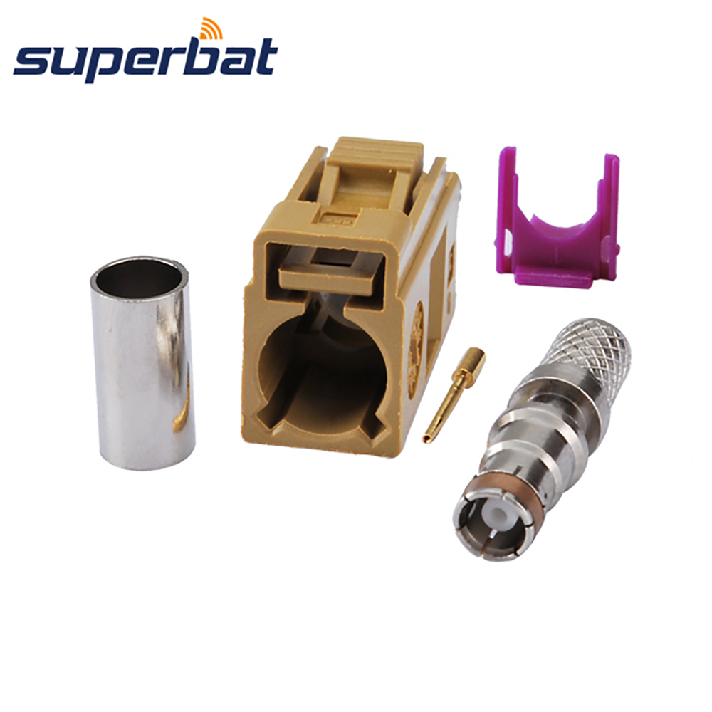 Superbat Fakra K Curry/1027 Female Jack Straight Crimp RF Coaxial Connector For Cable LMR195 RG58 Satellite Radio With IF