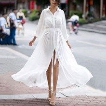 Women White Shirt Dress Female Casual Pocket Tunic Half Sleeve Elegant Maxi