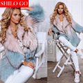 Plus size 2017 winter new fashion women high-quality luxury Macarons Toner Blue gradient lapel raccoon fur fur coat preparation