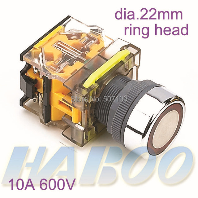 5pcs/lot HABOO dia.22mm 600VAC ring color head  1NO+1NC momentary push button switch