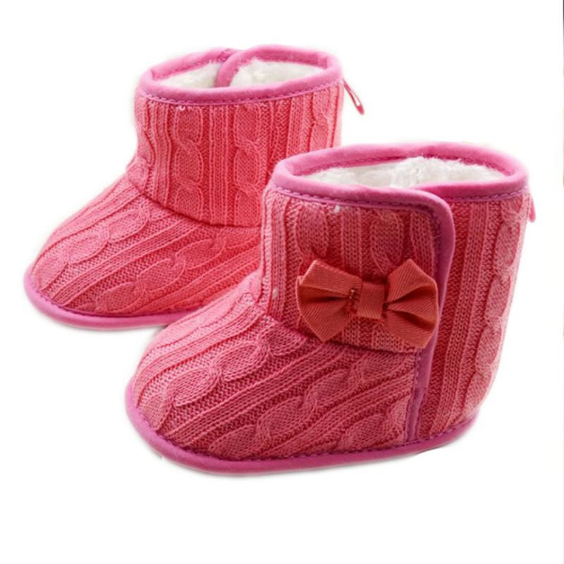 Baby-Girl-Shoes-Knit-Bowknot-Faux-Fleece-Snow-Boot-Soft-Sole-Kids-Wool-Baby-Booties-3-18M-4
