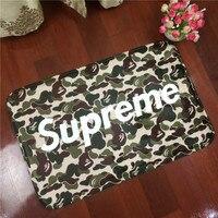 Supreme Letters To Camouflage Flannel Carpet Pad Brand Kitchen Toilet Mat Rug Mat Water Doorway Door