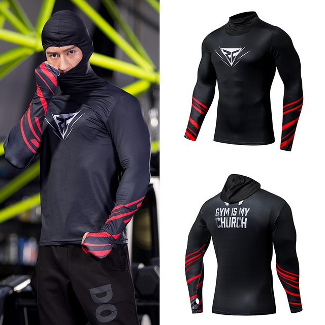 ZRCE Sportswear Running Tshirts jogging Tops with hooded Tracksuit Gym Training Fitness Tights Men Compression shirts