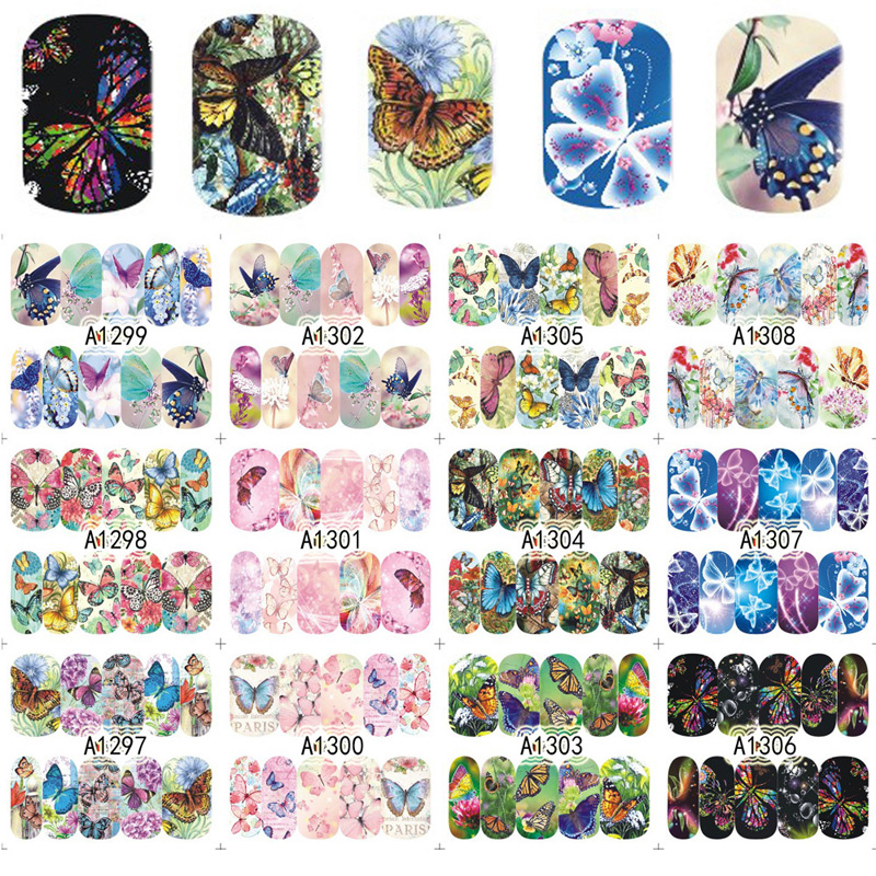 12 Designs/Sheet Colorful Butterfly Full Cover Water Transfer Decals Nail Art Manicure DIY Sticker Fingernail Wraps 2016 2sheets manicure tips beauty purples oil printing 3d diy designs nail art water transfer stickers decals full cover xf1405