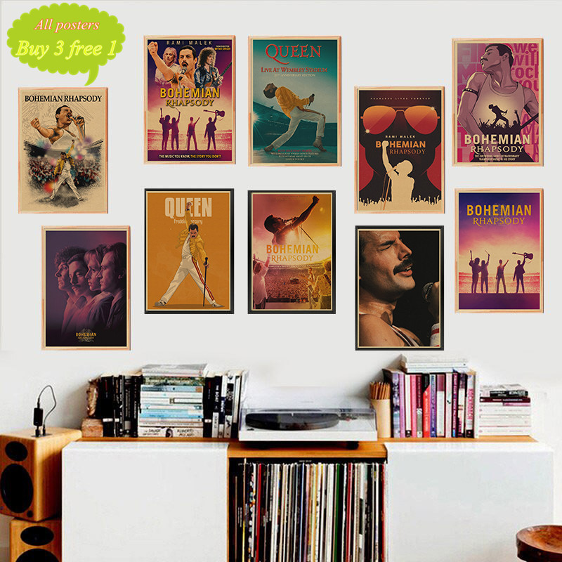 Queen Bohemian Rhapsody Classic Retro Kraft Paper Posters Home Decor wall stickers room deco
