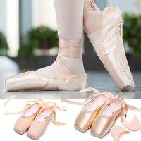 Новые атласные балетки для танцев с острым носком обувь холст пуанты шелковой лентой обувь коврик для ног для девочек розовый профессионал...