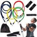 11 UNIDS Resistencia Tubos Bandas Yoga Set Gym Fitness Ejercicio de Entrenamiento Adelgazamiento Envuelve Maneja Equipamiento Del Edificio Del Cuerpo
