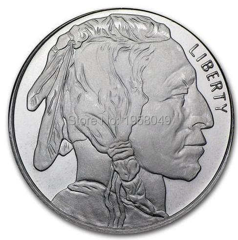 US $4 99 |Non Mangetic! AMERICAN LIBERTY One Troy Ounce 999 Fine silver  clad Bullion Round Buffalo Coin,1pcs/lot -in Non-currency Coins from Home &