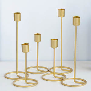Candle-Holder Table-Decor Wedding-Decoration Geometric Gold Nordic-Style Creative Home