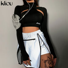 Kliou reflektierende patchwork sexy shorts bottoms röcke 2019 sommer frauen fashion club party zipper hohe taille streetwear shorts(China)