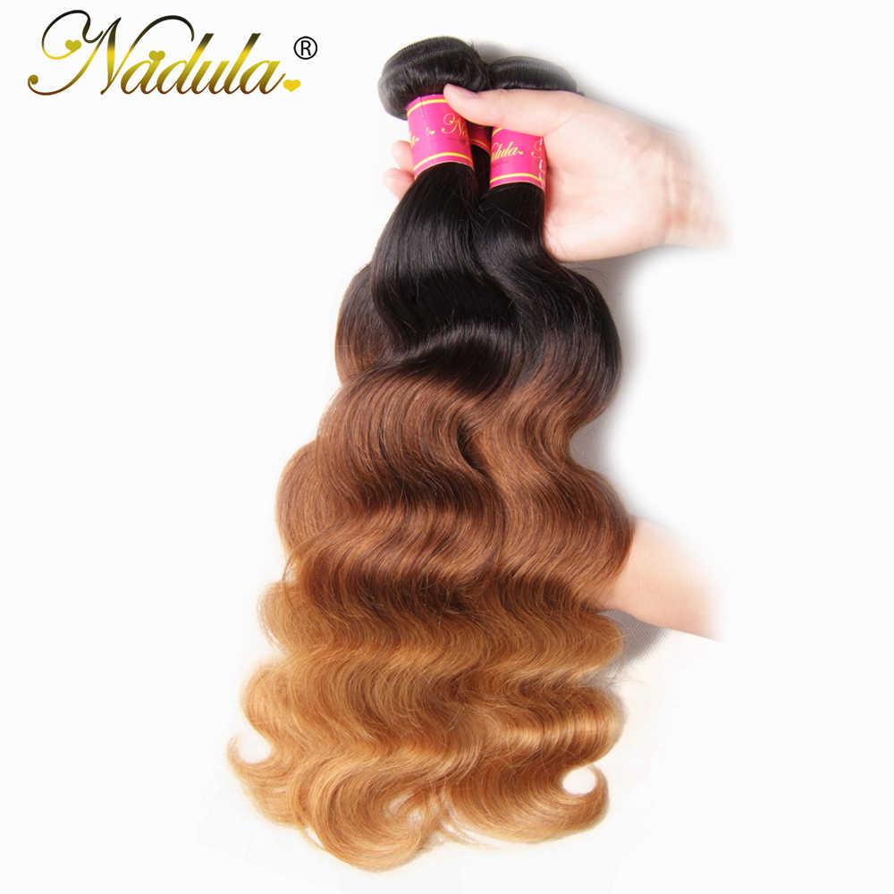 Nadula Haar 3 stuk/partij Peruaanse Haar Body Wave 3 Bundels Menselijk Haar Ombre Weeft T1b/4/27 Kleur remy Hair Extensions