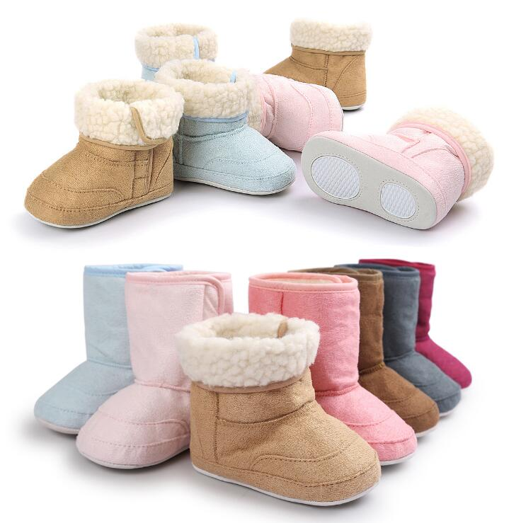 7 Colors Newborn Baby Unisex Kids First Walkers Soft Rubber Soled Outdoor Shoes Infant Toddler Winter Keep Warm Boots 0-1 Year