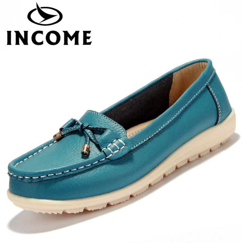 Income new genuine leather women flats shoes female casual flat women loafers shoes slips leather skyblue
