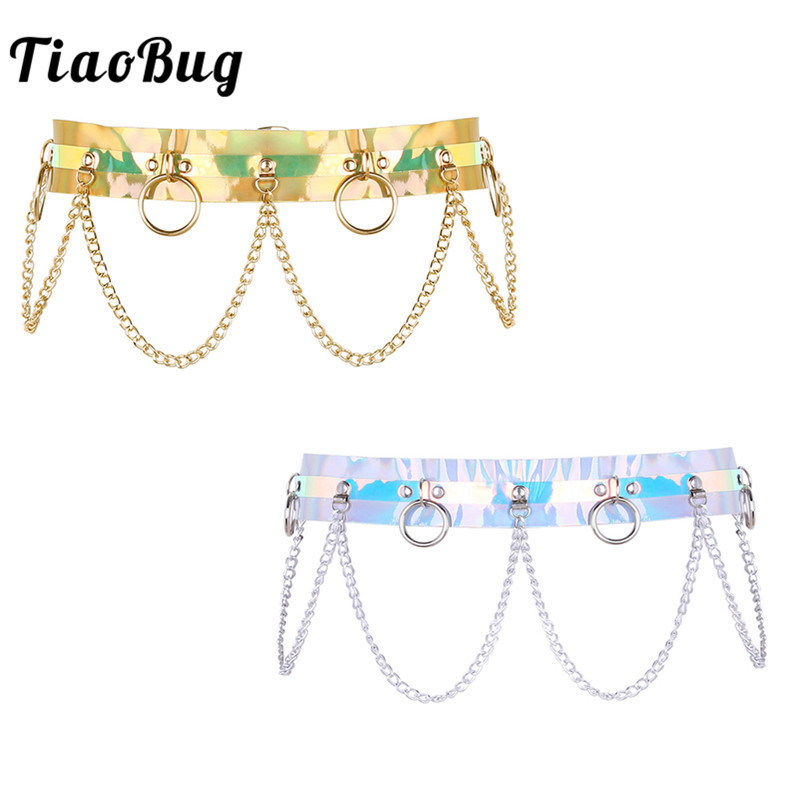 TiaoBug New Fashion Women Punk Shiny Laser Dazzle Colour PVC Female Body Waist Belt O Ring Holographic Sexy Harness Chain Belt