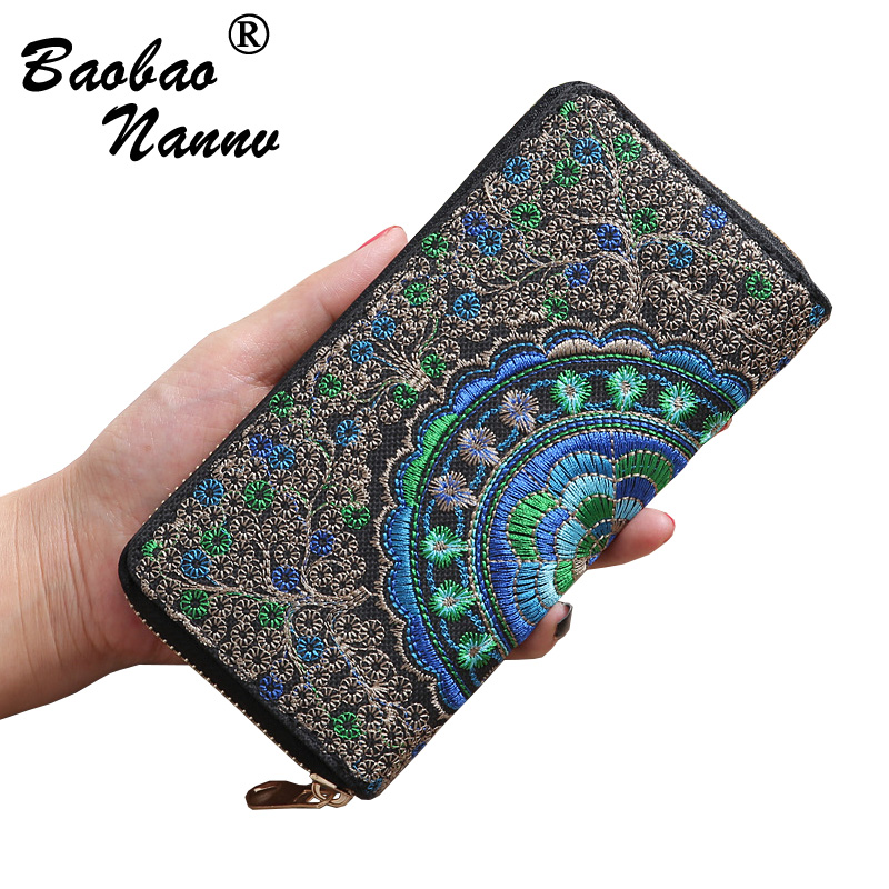 National Embroidery Long Wallets New Vintage Women Wallet Purse Female Wallet Pouch Handbag for Woman Lady Coin Card Holders