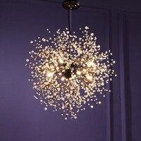 Винтажная Подвесная лампа подвесная люстра светодиодный Современный хрустальный фейерверк подвесное освещение потолочный светильник све