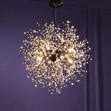 Bağbozumu asılı lamba Loft avizeler LED Modern kristal havai fişek sarkıt aydınlatma tavan ışık fikstürleri restoran fuaye