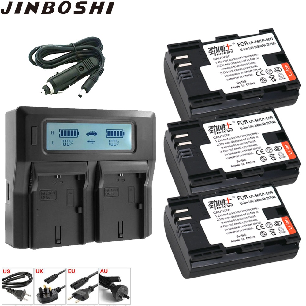 3x LP-E6 LP E6 LP-E6N Battery +LCD Quickly Dual Charger for Canon EOS 6D 7D 5DS 5DSR 5D Mark II 5D 60D 60Da 70D 80D LPE6 battery3x LP-E6 LP E6 LP-E6N Battery +LCD Quickly Dual Charger for Canon EOS 6D 7D 5DS 5DSR 5D Mark II 5D 60D 60Da 70D 80D LPE6 battery