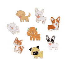 Fashion Cartoon Cute Dog Teddy Bulldog Brooch Pins Badge Pin Jeans Bag Clothes Decoration For Women Gift Jewelry Wholesale
