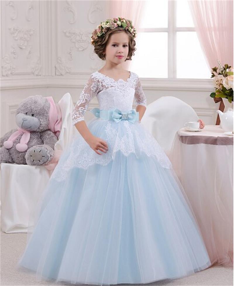 2019 Light Blue Half Sleeve Little   Girls   Ball Gown   Flower     Girl     Dresses   Lace Bow Elegant   Dresses   For   Girls   Vestidos de comunion