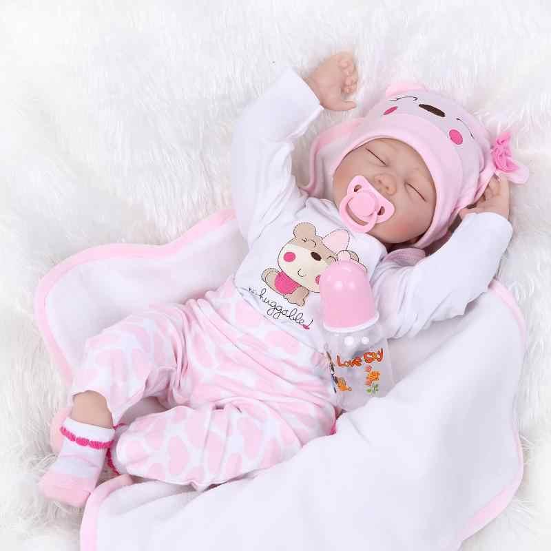 Npkколлекция реалистичные куклы Reborn кукла волосы укоренились Мягкий силикон 22 дюймов 55 см реалистичные пупсик Девушка Рождественский подарок