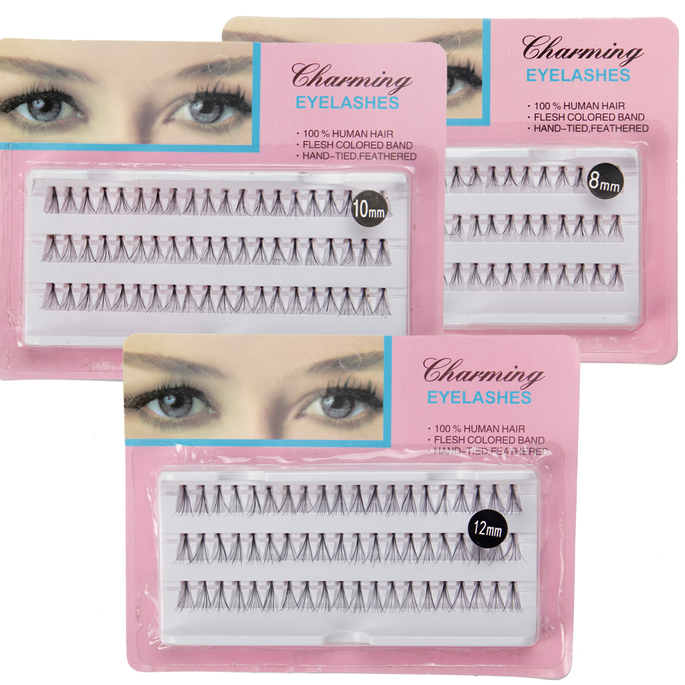 10packs New Natural Long Black Individual False Eyelashes Eye Lash Extension Makeup Tool 8 10 12 14MM Available free shipping new product 5 tray 4 colors individual lash extension silk colorful eyelash extension fashion false eyelashes