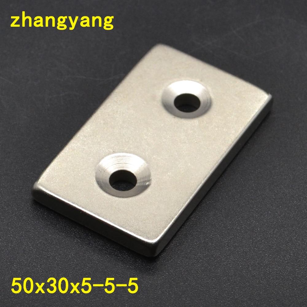 2PCS 50x30x5 Super Strong Countersunk Block Rare Earth Neodymium Magnets 50 x 30 x 5 mm Hole:5mm NdFeB Magnet 50*30*5-5 diy 5 x 5mm cylindrical ndfeb magnet silver 20 pcs