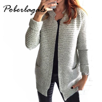 2016 Autumn Winter Fashion Women Long Sleeve Loose Knitting Cardigan Sweater Womens Knitted Female Cardigan Pull