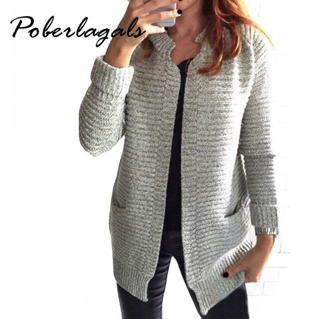 2018 Otoño Invierno moda mujer manga larga suelta de punto cardigan suéter  mujer de punto hembra d0591eaafb4f