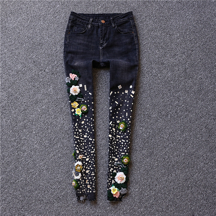 2017 diamond black elastic embroidered paillette hole jeans pencil pants карабин black diamond black diamond vaporlock screwlock
