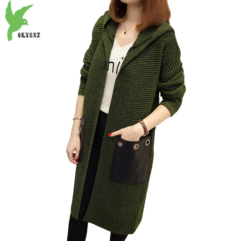 Large Size Women Spring Autumn Knitted Sweater Long Coat New Fashion Solid Color Hooded Casual Cardigan 100kg Can Wear OKXGNZ938